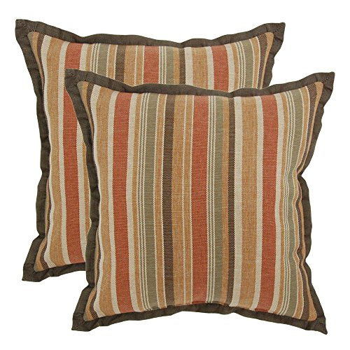 18 in. Cayenne Stripe Outdoor Toss Pillow with Flange (2-Pack) by Hampton Bay