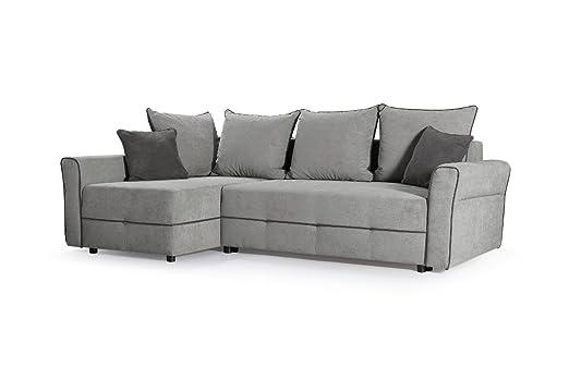 MEUBLO sofá de Esquina Convertibles 3 plazas Tela Gris ...