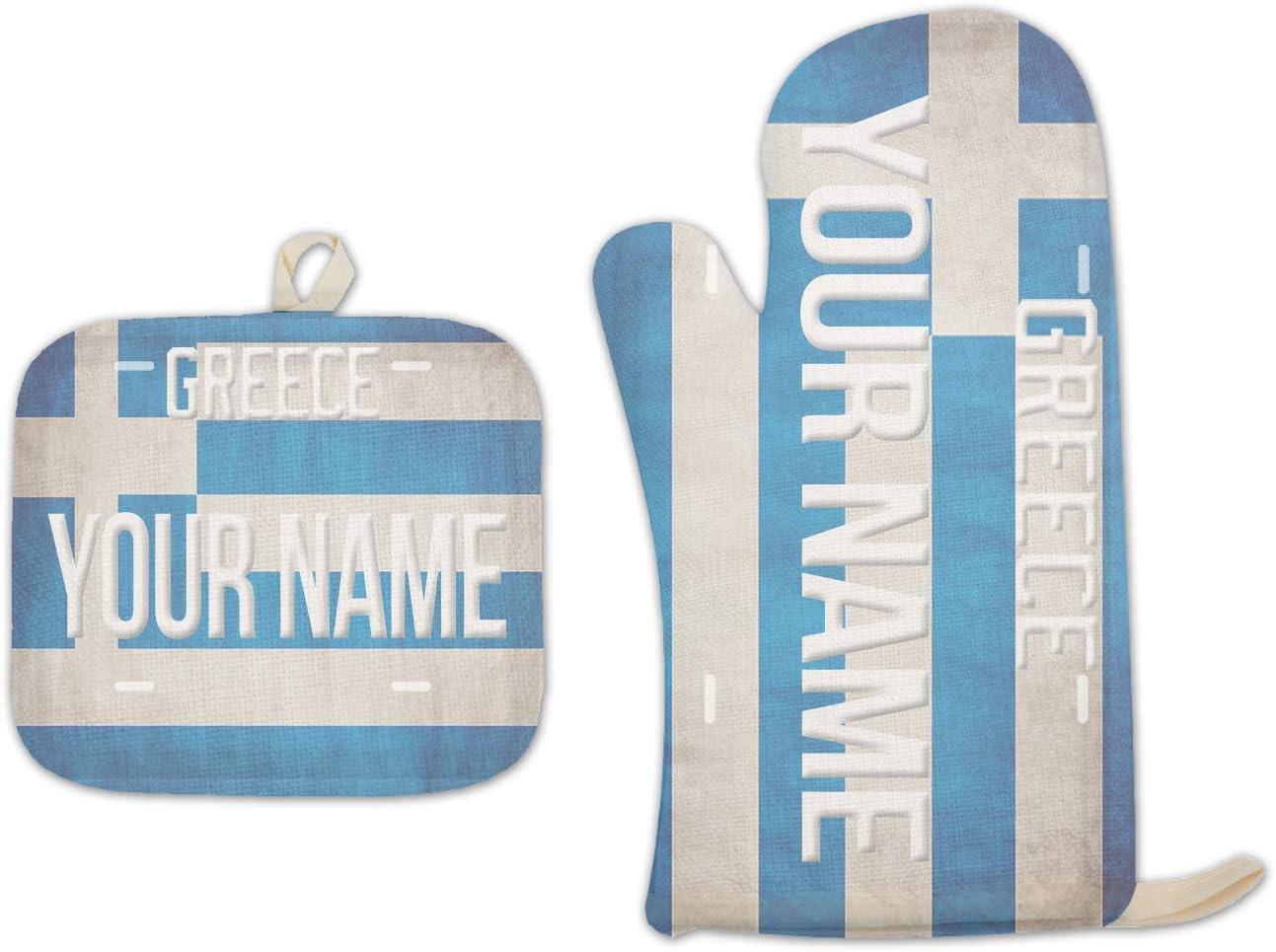 Bleu Reign BRGiftShop Personalized Custom Name License Greece Plate Linen Oven Mitt and Potholder Set