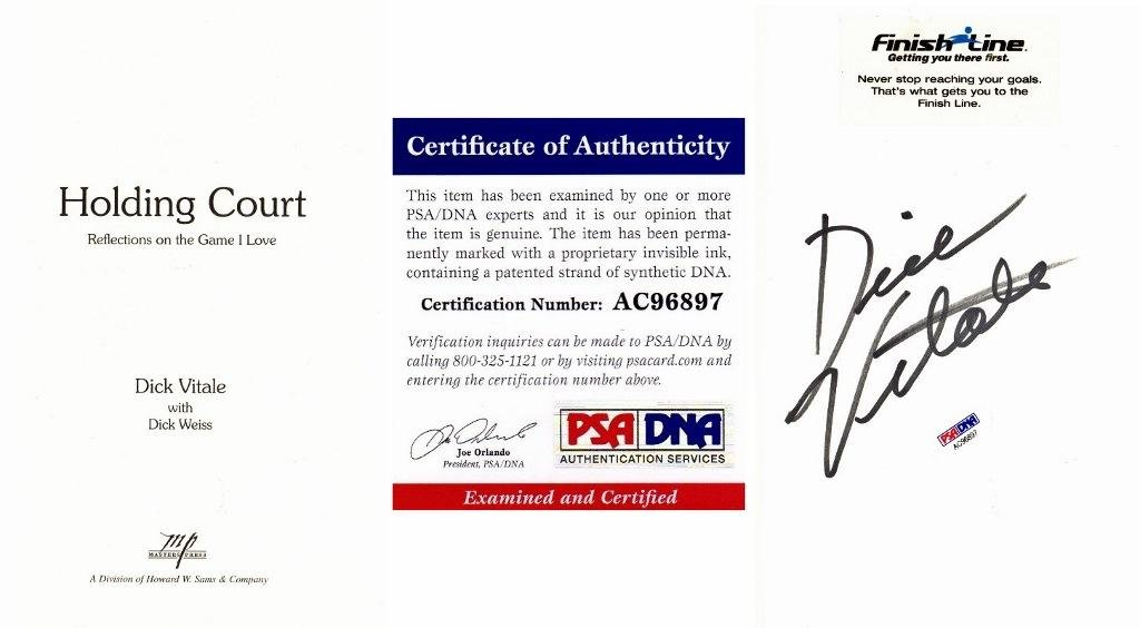 Dick Vitale Signed Autographed Holding Court Hardcover Book with Certificate of Authenticity (COA) PSA/DNA Certified