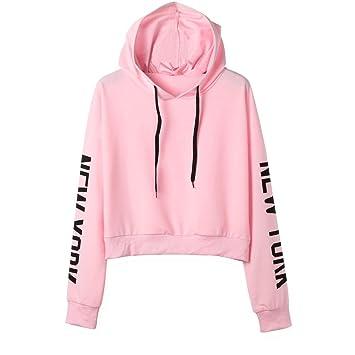 superior quality be5eb 8dfdf Damen Sweatshirt, Kurze Sport Pullover Hoodie Tops mit ...