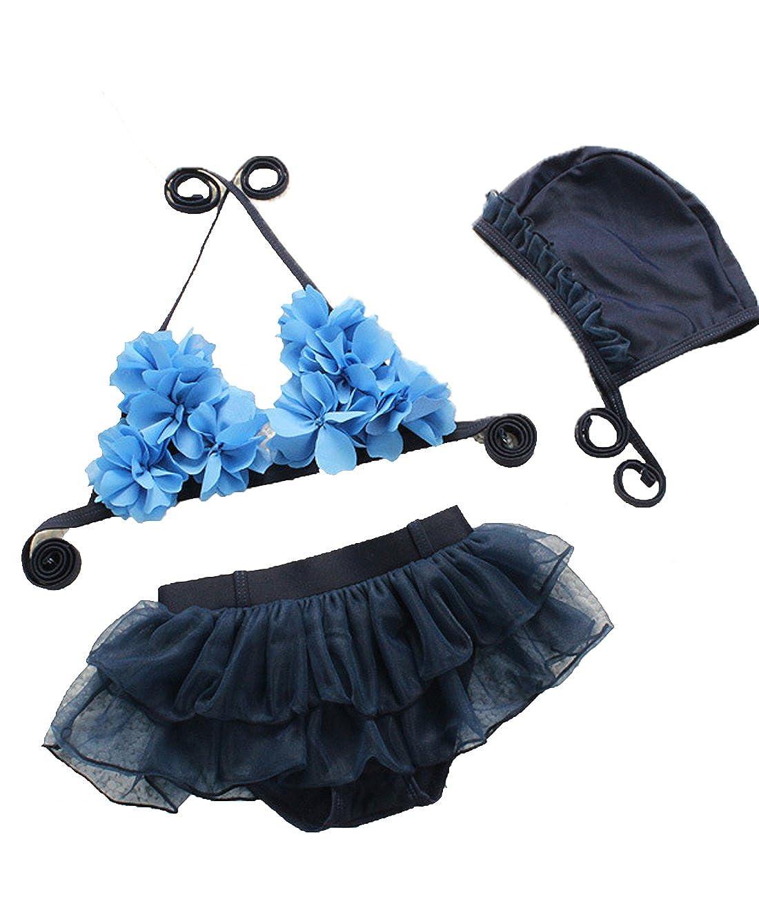 KJY Elegant 3 Peices Baby Girl Summer Bikini Sets Swimwear