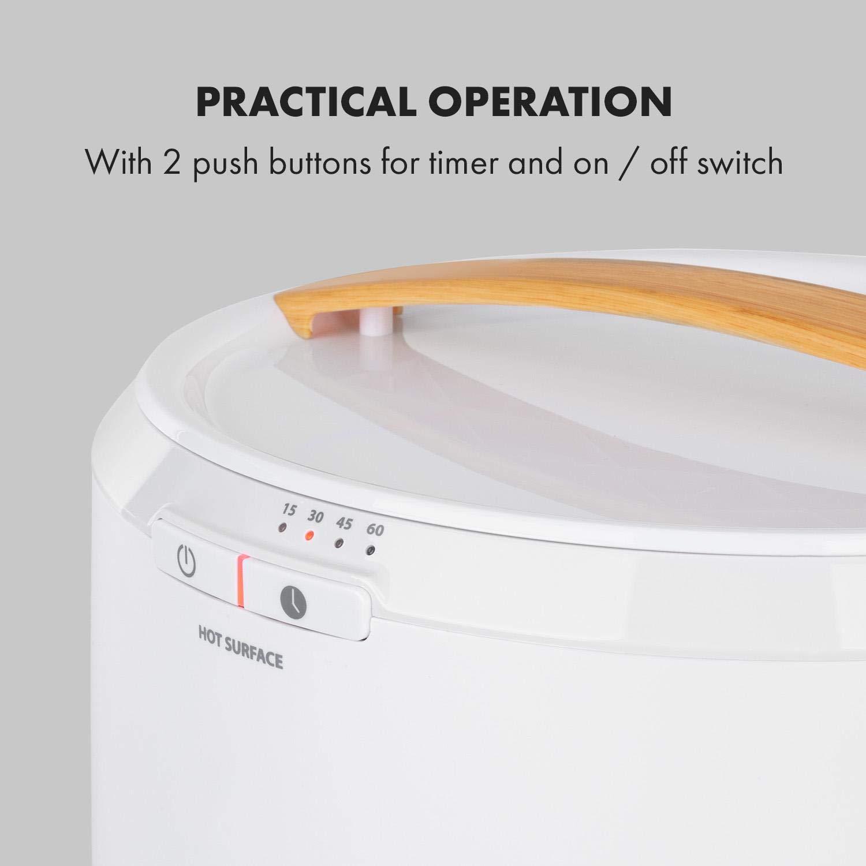 400 W de potencia Enrollador de cable temporizador de 15//30//45//60 minutos Blanco Klarstein Cozy Wonder Calentador de toallas Dise/ño compacto 20 litros de volumen Patas de bamb/ú
