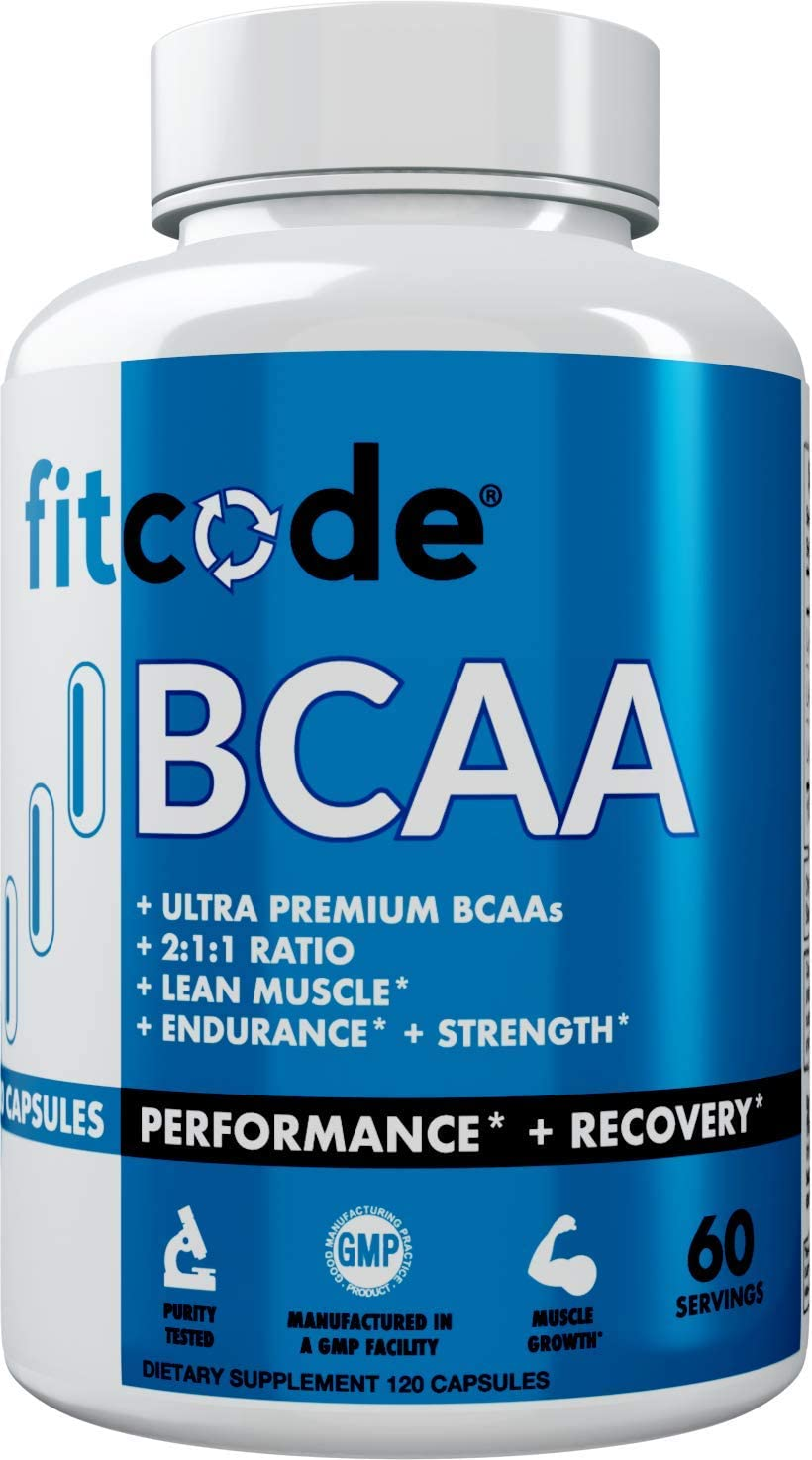 Fitcode Ultra Premium BCAAs with 5G of Pure BCAAs with Proven 2 1 1 Ratio of Amino Acids to Help Post Workout Recovery, Lean Muscle Growth, Endurance, Capsules 60 Servings