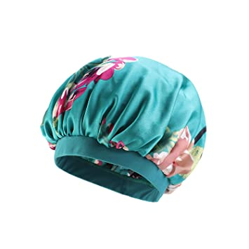 Adjust Women Bonnet Cap Salon Shower Sleep Hair Head Cover Wide Band Elastic Hat