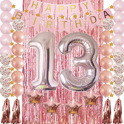 13th Birthday Decorations Rose Gold|13 Birthday Party Supplies for Girls-Confetti Latex Balloon,Foil Mylar Star,Tassel Garland,Tinsel Foil Fringe Curtains,Happy Birthday Banner as Photo Props,Gift