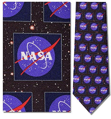 Silk Logo Ties Necktie (Mens 100% Silk Nasa Logo Necktie Tie Neckwear)