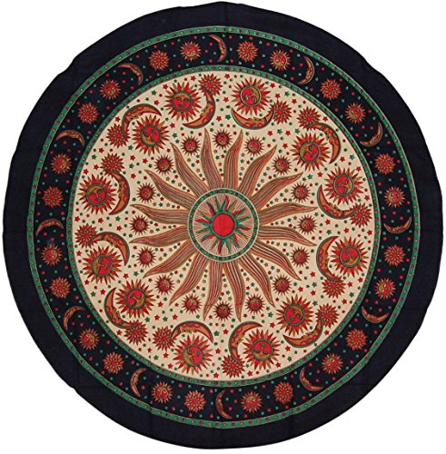India Arts Celestial Print Round Cotton Tablecloth 72