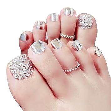 Aisi 24pcs Künstliche Fußnägel Zum Aufkleben