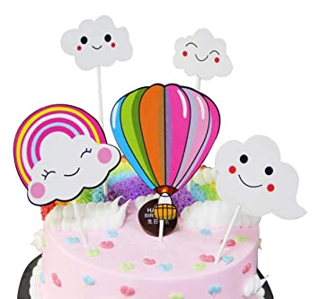 Happy Birthday Cake Topper Cloud Rainbow Ball DIY First Cupcake Smash Candle