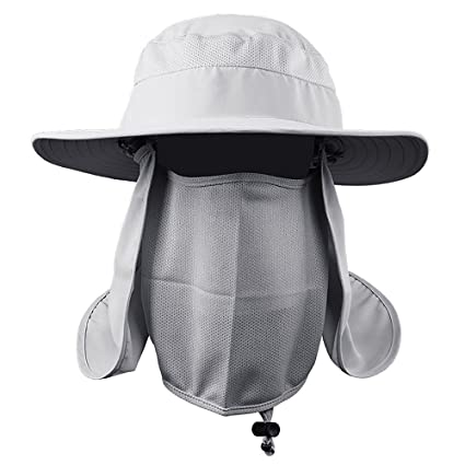 a9f0ec49363 MMRM Outdoor Sport Sun Shield UV Protection Hiking Fishing Hat with Neck  Face Flap Cap for Women Men (Light Grey)  Amazon.in  Toys   Games