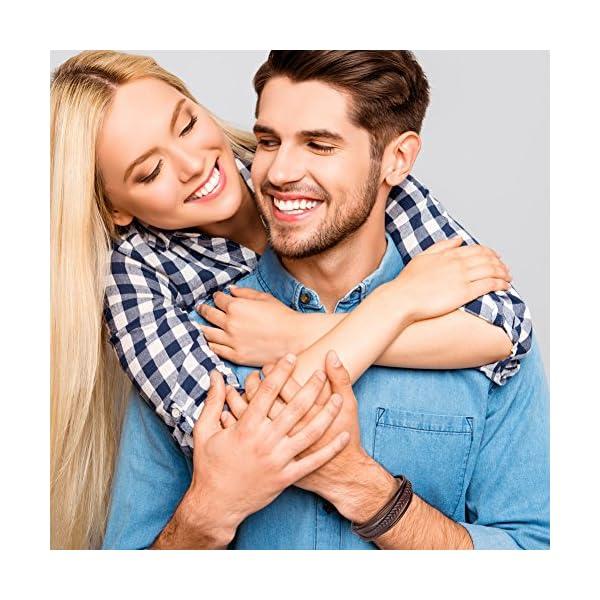Bracciale Uomo Pelle Chiusura in Acciaio Braccialetto Uomo Donna Pelle 3