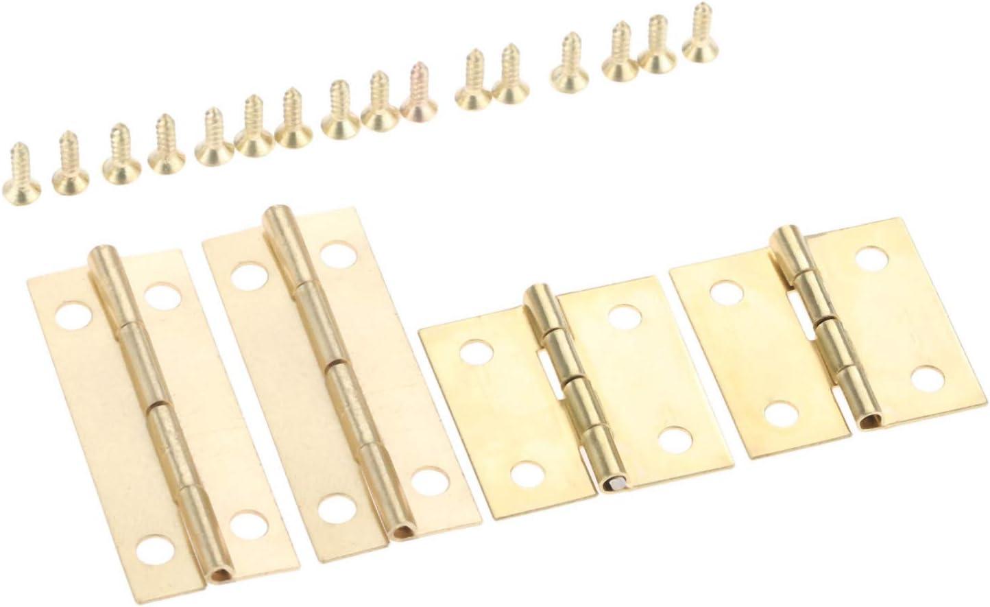 4 Uds, Bisagra de muebles de puerta de armario dorado antiguo, cajas de madera para joyería, bisagra decorativa para equipaje, accesorios para muebles con tornillos
