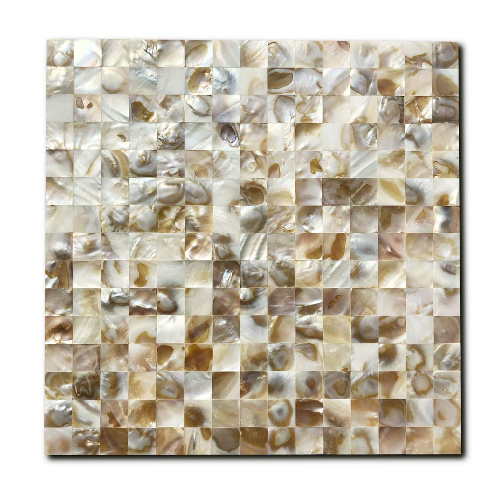 Natural Shell Mosaic Wall Tile in Spray Shell 12X12, 10 Sheets Yipscazo Mother of Pearl Shell Kitchen Backsplash