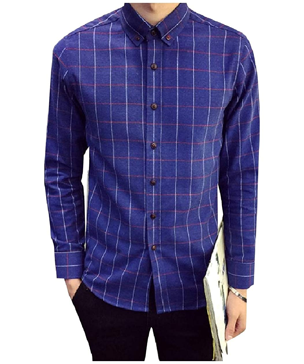 VITryst-Men Slim Fitting Plaid Brushed Buttoned Warm Fleece Lined Shirts