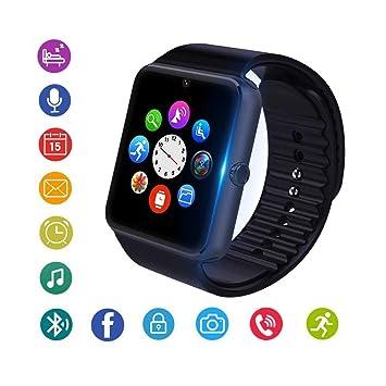 Reloj Inteligente, Bluetooth Smartwatch Fitness Tracker con cámara SIM Ranura para Tarjeta Podómetro Reloj Deportivo Inteligente para Hombres, ...