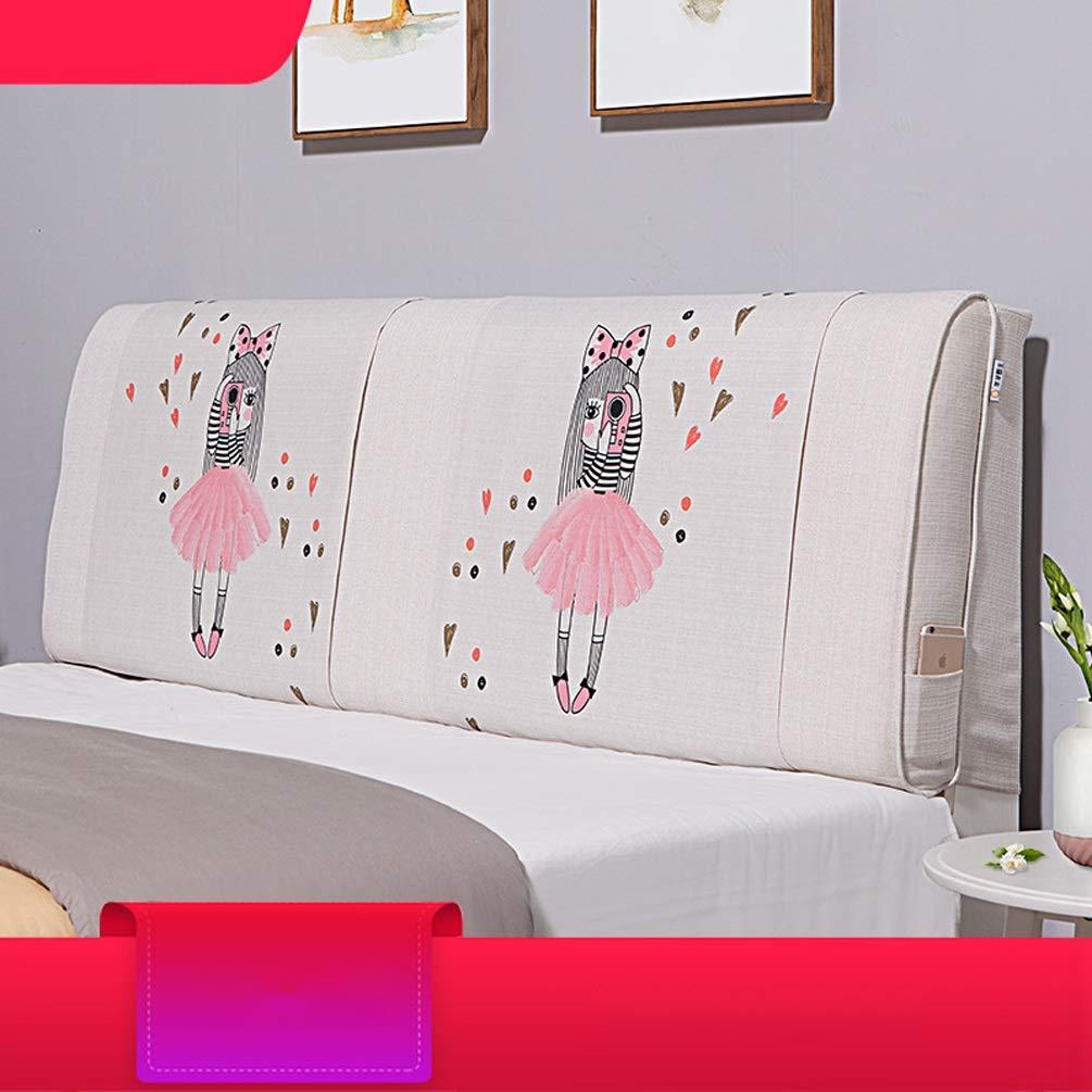 QIANGYU Bett-Rückenlehnenkissen ohne Kopfteil Gepolstertes doppeltes Lesekissen für das Bettsofa Weich waschbar, Mehrfarbig Optional (Color : A, Size : with headboard-180cm)