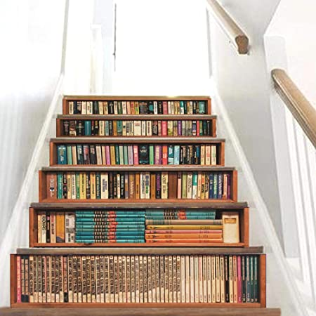 MEIMEIDA 3D Pegatinas de escaleras, Estante para Libros Impresión Modelo Bricolaje Mural PVC Impermeable Casa Oficina Bar Interior Decoración de escaleras Etiqueta Steic Sticke A-100 * 18cm*6pcs: Amazon.es: Hogar