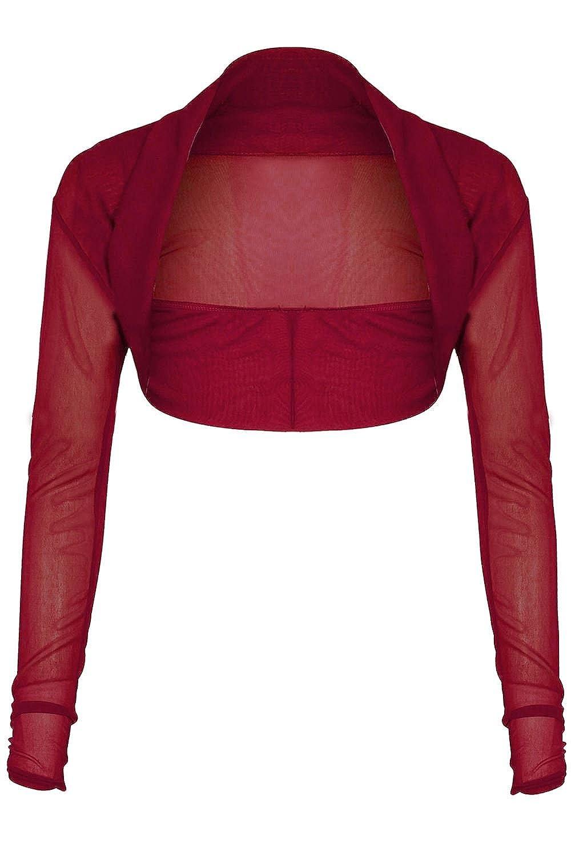 Be Jealous Womens Chiffon Long Sleeves Sheer Mesh Bolero Cropped Shrug Top