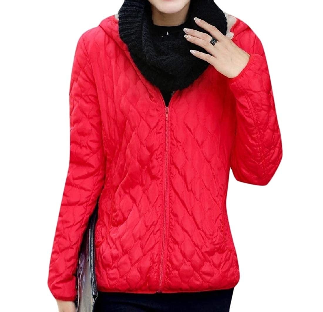 YUNY Women Sweatshirt Hooded Faux Fur Plus Velvet Wadded Jacket Five L