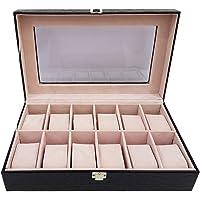 12 Piece Black Pu Croco Leather Watch Organizer Box