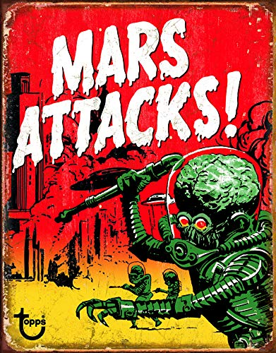 Desperate Enterprises Mars Attacks Tin Sign, 12.5