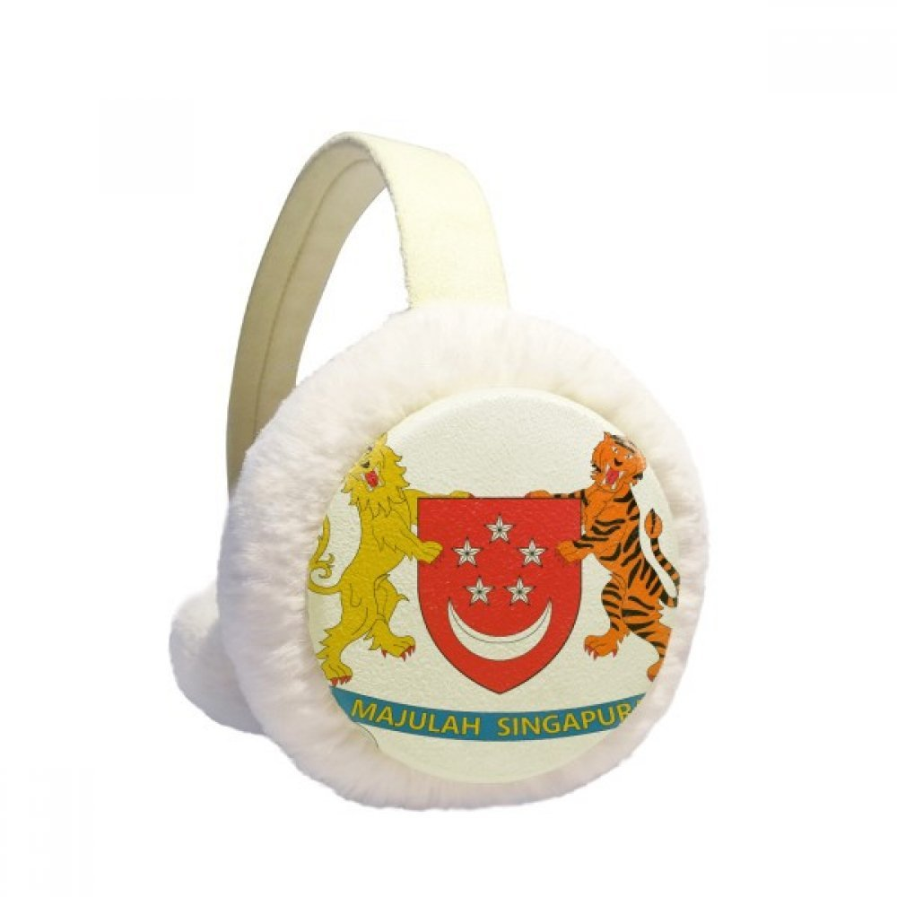 Singapore Asia National Emblem Winter Earmuffs Ear Warmers Faux Fur Foldable Plush Outdoor Gift