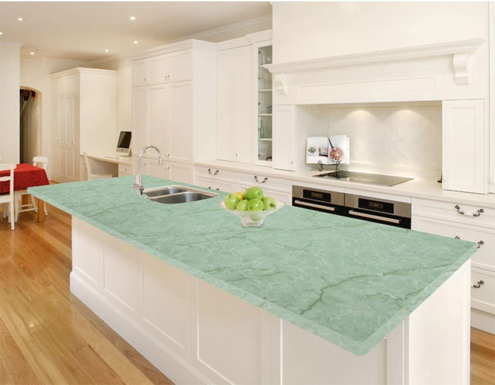 Self Adhesive Green Marble Looking Contact Paper Granite Shelf Liner for Kitchen Countertop Cabinets Backsplash Table Furniture Arts Crafts Decal 24 by 117 Inches