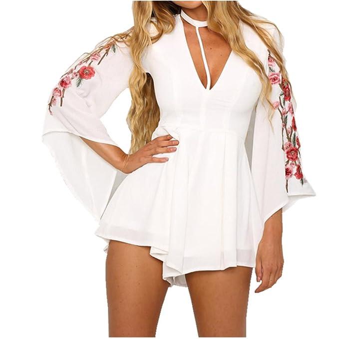 Amlaiworld Vestido Blusas Bordadas para Mujer Splice Jumpsuit (Tamaño Asiático: S, Blanco)