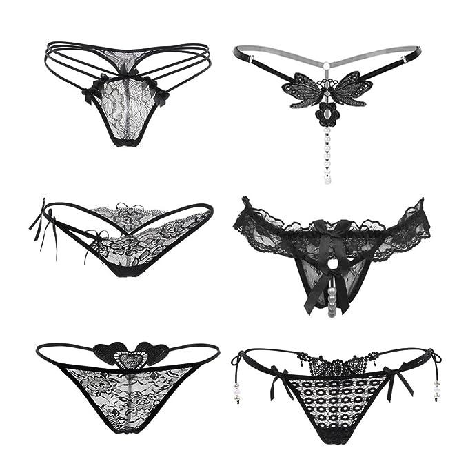 Nightaste Ropa Interior Sexy Elástico de Encaje Floral Tanga para Mujeres (6 Estilos en Un
