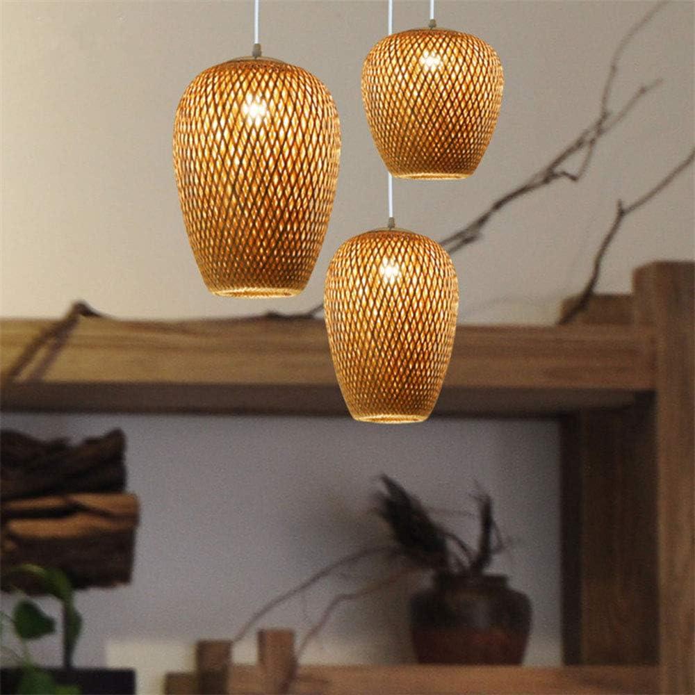 E27,B Style r/étro Lanterne Chambre Salon Lustre Plafond HeartRain Lustre en rotin Lustre cr/éatif tiss/é /à la Main en rotin Lustre en Bambou tress/é