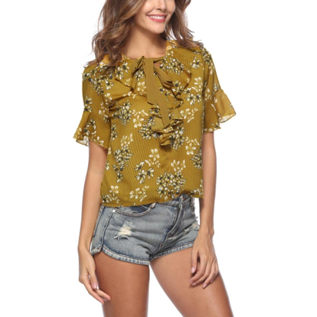 Summer Bow Tie Print Womens Lotus Sleeve Chiffon Blouse Wild Slim Short Sleeve Comfy Casual T-Shirt (Yellow, S)