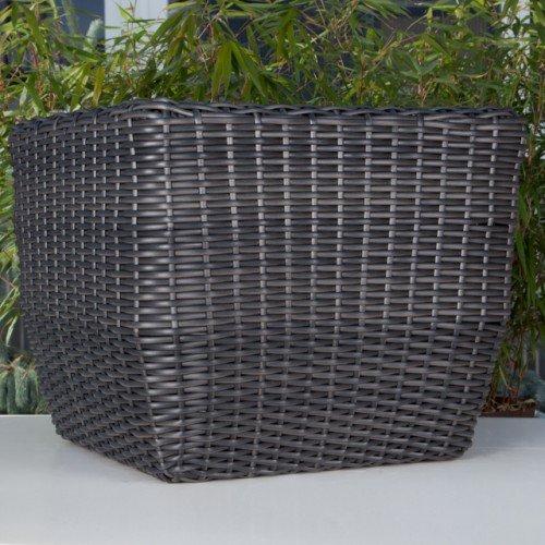 Polyrattan Pflanzkübel eckig schwarz Ø 56 cm