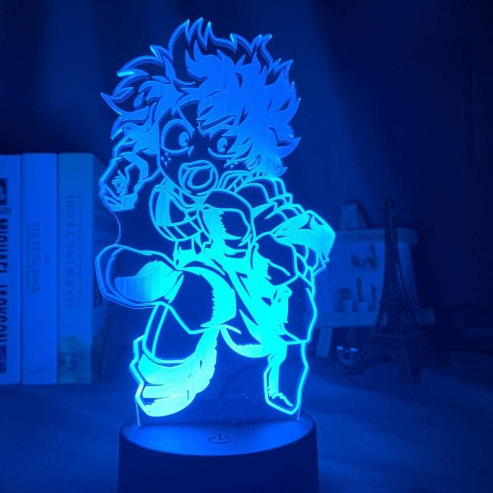 Luci da illusione 3D Lampada da notte per bambini My Hero Academia Lampada da notte a LED Touch Telecomando Lampada da scrivania USB a 16 colori Luce regalo per bambini