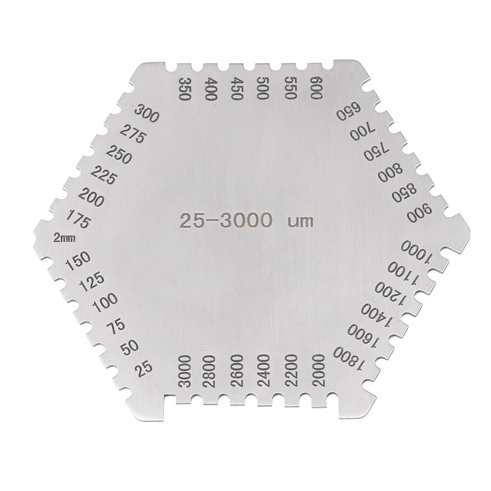 High Precision Hexagon Stainless Steel Wet Film Comb 25-3000um with Black Base for Thickness Gauge Hilitand