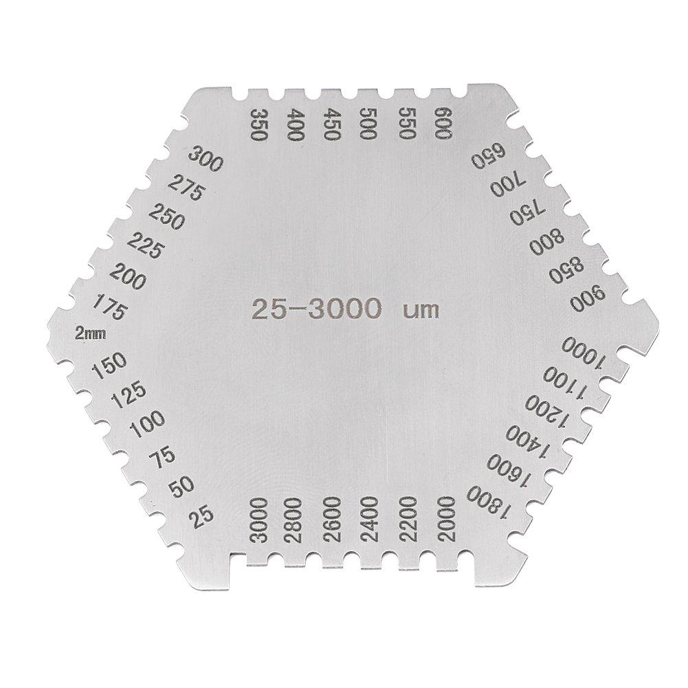 25-3000um Peigne Humide Jauge de Film Humide d'É paisseur en Acier Inoxydable Protecteur de Haute Pré cision avec la Base Noir Hilitand