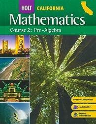 Holt Mathematics: Course 2: Pre-algebra 1st by HOLT, RINEHART AND WINSTON (2008) Hardcover
