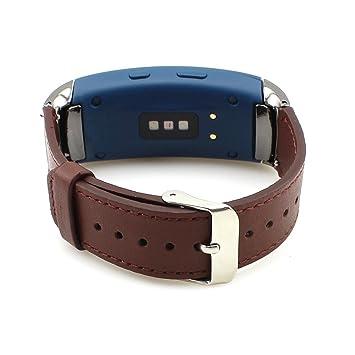 Correa de reemplazo de piel para reloj inteligente Samsung Gear Fit 2 SM-R360: Amazon.es: Electrónica
