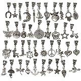 RUBYCA 120Pcs Tibetan Silver Color Connector Bails Mix Beads with Pendant fit Charm Bracelet 101