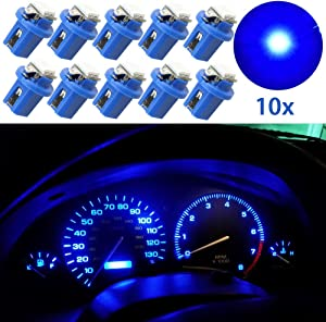 Guage Cluster Speedometer Light Bulbs - 10pcs Blue T5 B8.5D 5050 1SMD Led Dashboard Dash Cluster Speedmeter Instrument Panel LED Light Bulbs Kit 12V