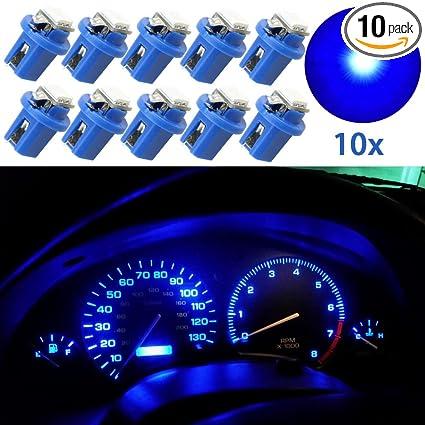 10Pcs T5 B8.5D 5050 1 SMD LED Blue Dashboard Dash Gauge Instrument Light Bulbs