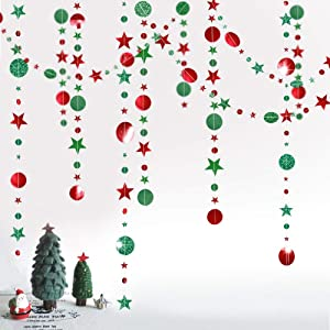 Decor365 Glitter Green Red Circle Dots Star Garland Kit for Xmas Party Hanging Decoration/Streamer/Flag/Banner/Christmas Tree New Year Eve Celebration/Birthday/Wedding/Baby Shower/Holiday Event Decor