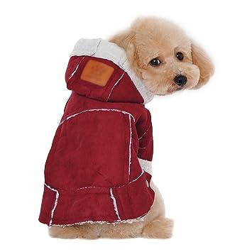 Jitong Ropa Para Perros Forro Polar Capa del Perro Chaqueta de Invierno para Mascotas Capucha Abrigo (Vino Rojo, 38*25*30 CM): Amazon.es: Hogar