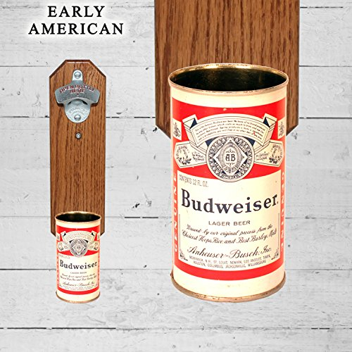 Bud Wall Mounted Bottle Opener with Vintage Budweiser Beer Can Cap Catcher