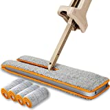 JIAFU Lazy Mop,Double Sided Flat MopDouble Sided Microfiber 360 Spin Automatic Squeeze Cloth Mop for Living Room,Hardwood Floor,Kitchen,Bathroom (A Total of 4 Mop Cloth)