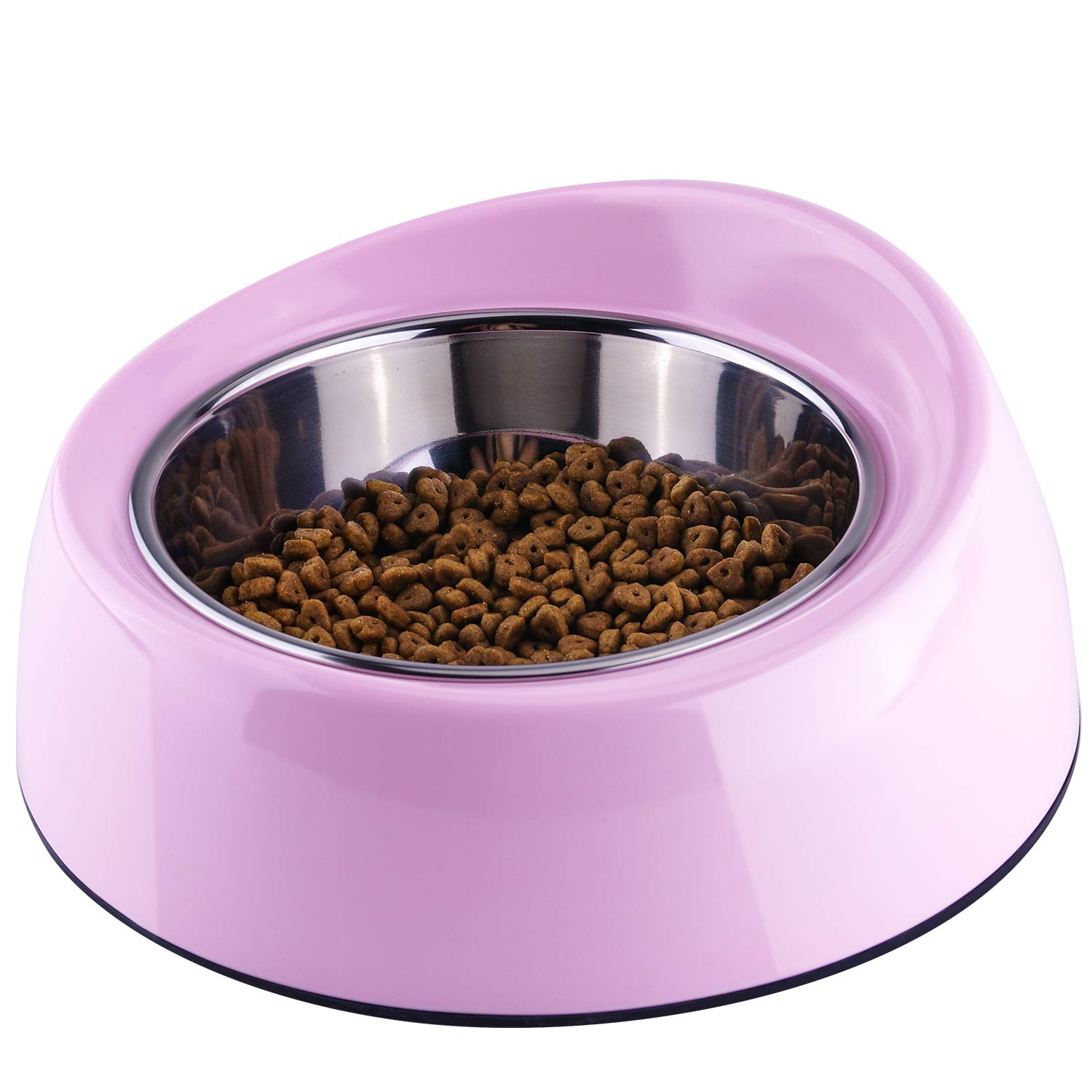 Light Pink 2 Cup Light Pink 2 Cup SuperDesign Removable Stainless Steel Melamine Non-Skid Widthen Mouth Pet Feeding Bowl, for Cats and Brachycephalic Dogs 2 Cup Light Pink