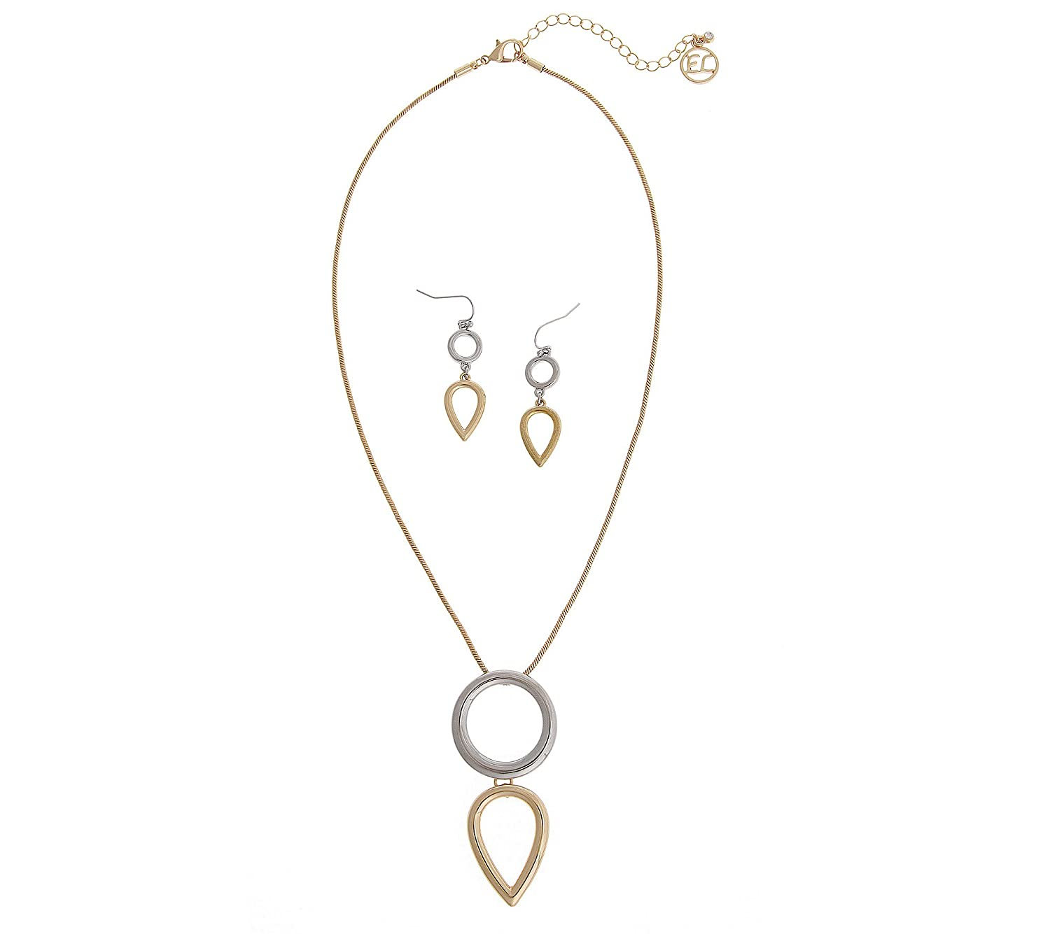 Erica Lyons Two-Tone Geometric Necklace and Earring Set