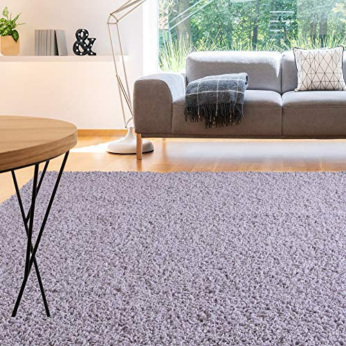8' Lilac Area Rug - iCustomRug Cozy and Soft Solid Shag Rug 8X8 Lilac, Pastel Purple Square Area Rug Ideal to Enhance Your Living Room and Bedroom Decor