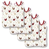 Farmhouse Chicken Seat Cushions, Set of 4