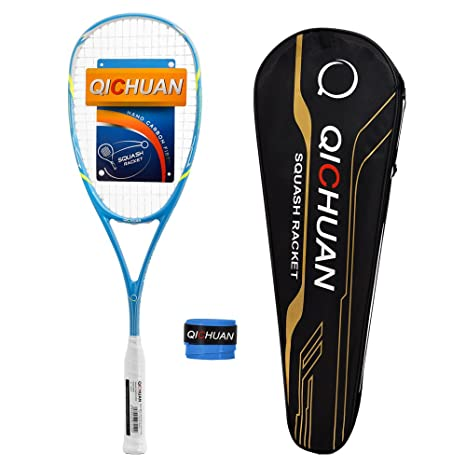 QICHUAN Graphite Squash Racquet 125g Four Colors with Overgrip Bag (Blue)